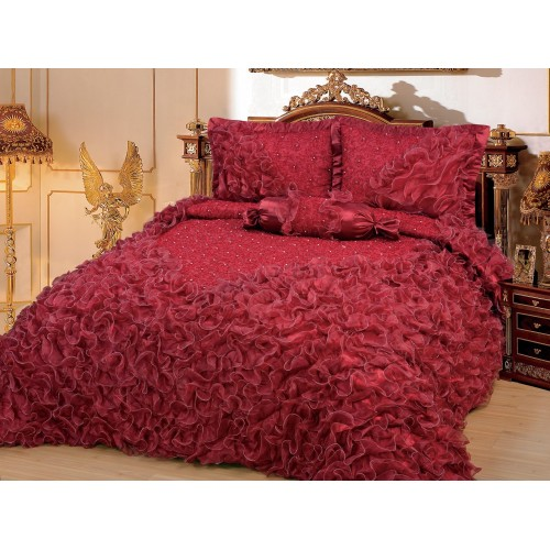 Bettüberwurf Gelincik Deluxe Bordeaux 250 x 260 cm