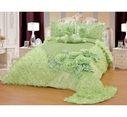 Bedspread-Set Gelincik Star Light Green 250 x 260 cm