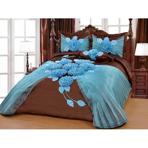 Bedspread Hülya Brown-Blue 250x260 cm