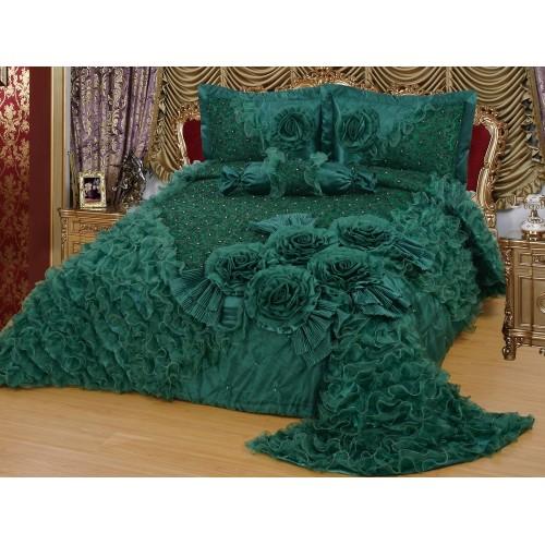 Bedspread-Set Gelincik Star - dark green - 250 x 260 cm
