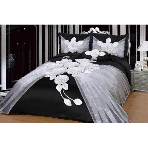 Bedspread Hülya - Black-White - 250x260 cm