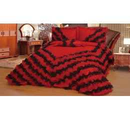 Bettüberwurf Gelincik Deluxe black-red 250 x 260 cm